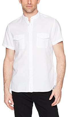 Calvin Klein Jeans Men's Short Sleeve Utility Shirt Banded Panama Weave