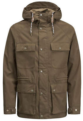 Jack and Jones Cotton-Blend Raglan-Sleeve Parka