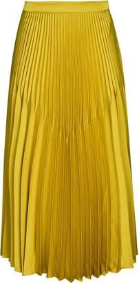 Reiss Isidora - Knife Pleat Midi Skirt in Gold