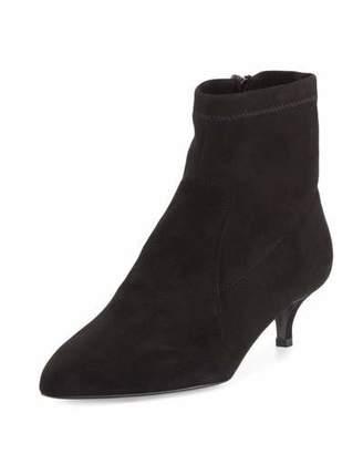 Sesto Meucci Beata Suede Kitten-Heel Bootie, Black $315 thestylecure.com