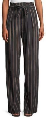 Vince Belted Stripe Wide-Leg Pants
