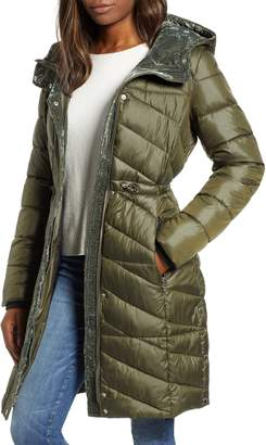 Andrew Marc Velvet Trim Quilted Coat