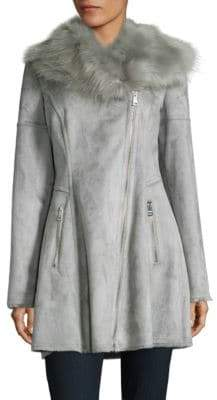 Catherine Malandrino Faux Fur-Accented Flared Suede Coat