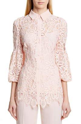 Lela Rose Puff Sleeve Lace Shirt