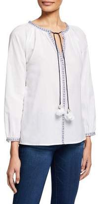 Bella Tu Brooke Bracelet-Sleeve Peasant Top