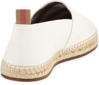 Burberry Men's Pebble Leather Slip-On Espadrille Sneakers