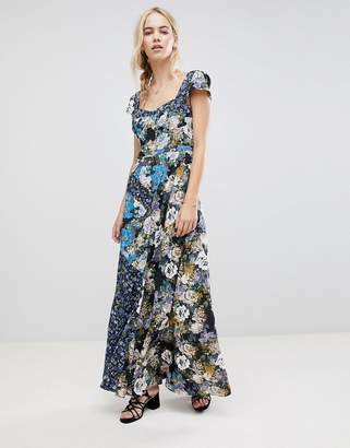 Free People La Fleur Mixed Floral Print Maxi Dress