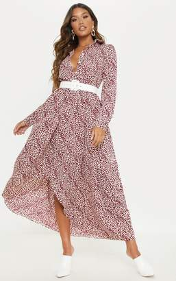 PrettyLittleThing Red Leopard Print Maxi Shirt Dress