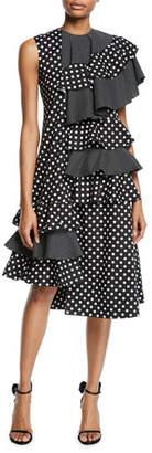 Paskal One-Sleeve Polka-Dot Asymmetric Ruffle Midi Dress