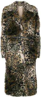 Stella McCartney leopard print faux-fur coat