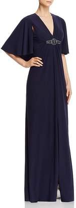 Eliza J V-Neck Cape Back Gown