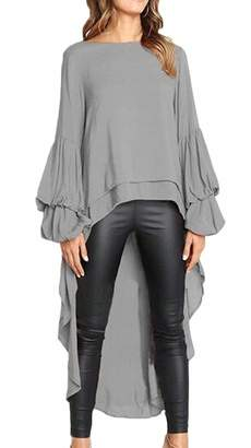 Gocgt Womens Ruffle High Low Asymmetrical Long Sleeves Tops Blouse Shirt Dress Grey XL