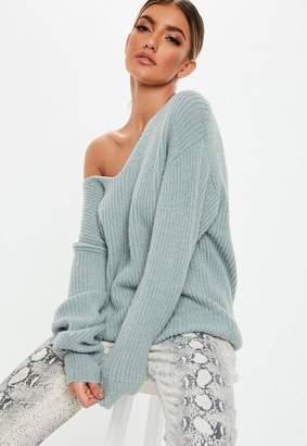Missguided Premium Mint V Neck Boyfriend Sweater