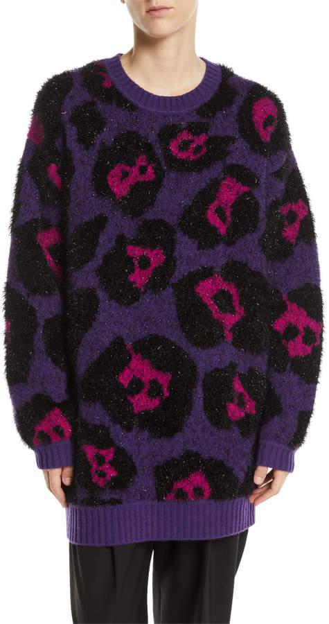 Marc Jacobs Leopard-Jacquard Metallic Long-Sleeve Crewneck Tunic Sweater
