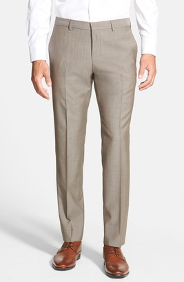 BOSS Genesis Flat Front Slim Fit Solid Wool Trousers