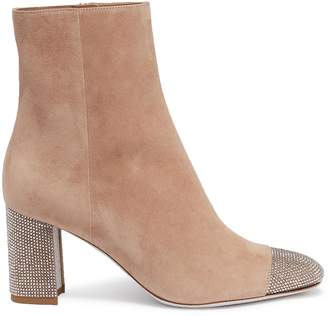 Rene Caovilla Strass toe suede ankle boots