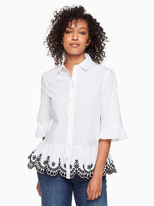 Kate Spade Short sleeve cutwork top