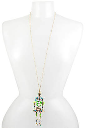 Betsey Johnson Blooming Long Skeleton Pendant Necklace