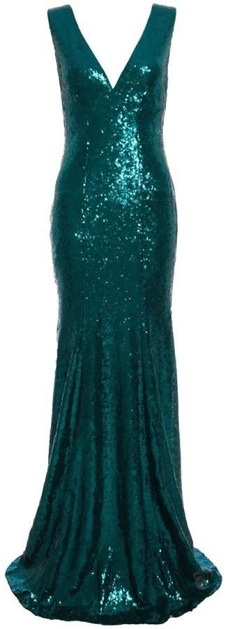 Emerald Sequin V Plunge Neck Fishtail Maxi Dress