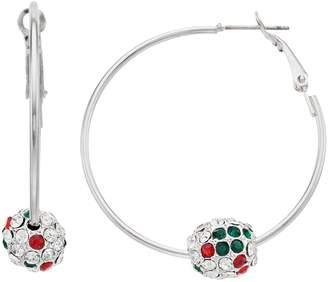 Christmas Bead Nickel Free Hoop Earrings