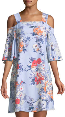 Taylor Cold-Shoulder Flutter-Sleeve Dress