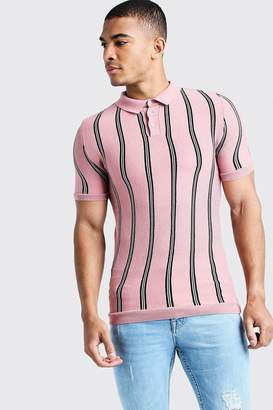 boohoo Knitted Polo With Stripe
