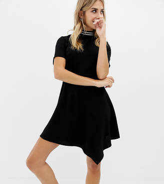 Collusion COLLUSION mini high neck skater dress with open back and sports tipping