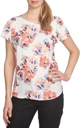 Women's Cece Print Flutter Sleeve Blouse $69 thestylecure.com