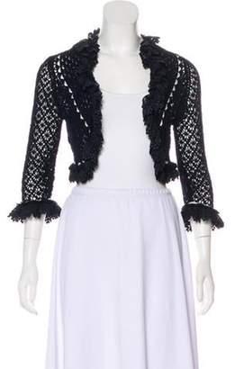 Oscar de la Renta Crocheted Lace-Trimmed Shrug Crocheted Lace-Trimmed Shrug