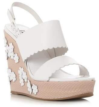 Dune Ladies KENSINGTON Applique Flower Wedge Sandal in White Size UK 7