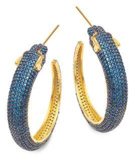 Azaara22K Goldplated Sterling Silver Panther Hoop Earrings