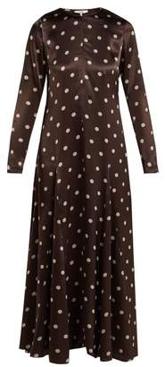 Ganni Cameron Polka Dot Satin Maxi Dress - Womens - Brown Print