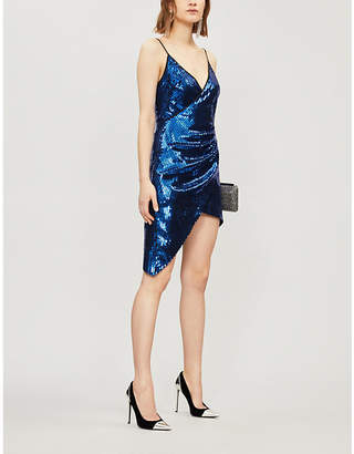 David Koma Asymmetric sequinned mini dress
