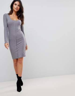 Asos Design Mini Long Sleeve Bodycon Dress with Popper Front