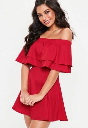 Missguided Red Ruffle Layer Bardot Swing Dress