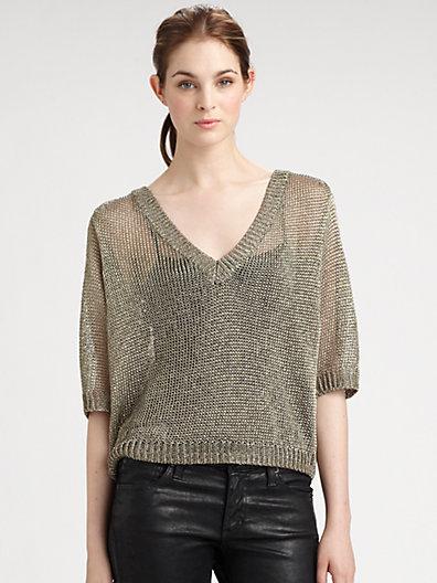 Halston Metallic Cropped Sweater