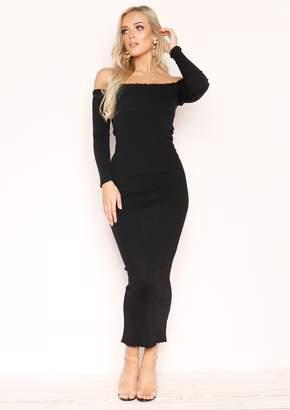 5896e06b1 Missy Empire Missyempire Kacey Black Ribbed Frill Maxi Dress