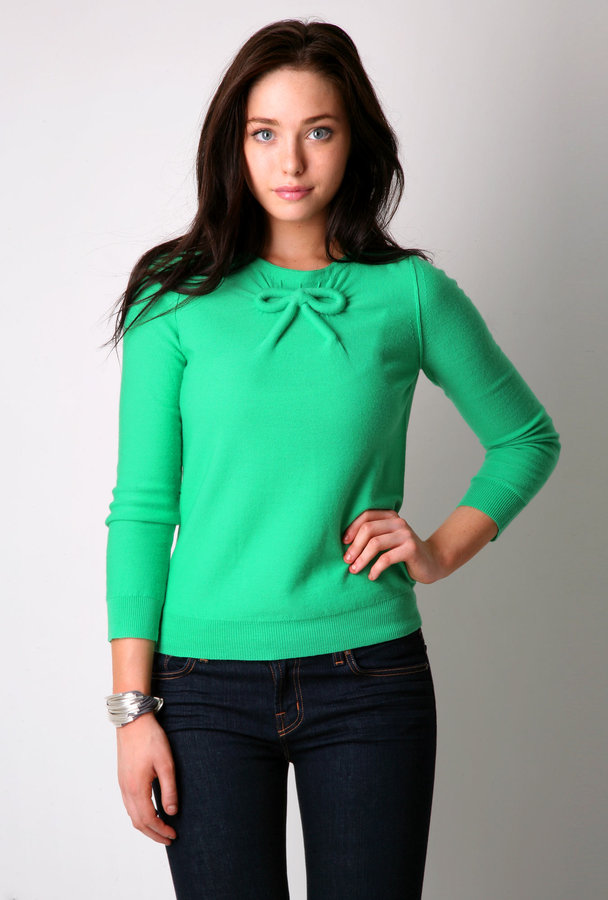 Sonia by Sonia Rykiel Mint Bow Front Sweater