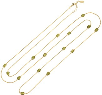 Latelita Venice 120cm Long Chain Necklace Gold Peridot
