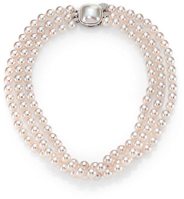 Majorica 8MM White Pearl & Sterling Silver Nested Triple-Strand Necklace
