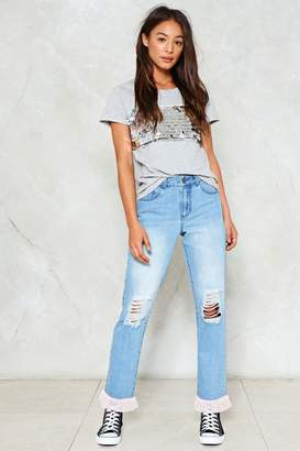 Nasty Gal Filled to the Trim Distressed Jeans