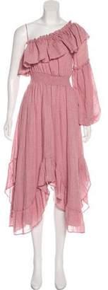 MISA Los Angeles One-Shoulder Peasant Dress