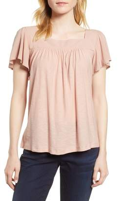Vince Camuto Ruffle Sleeve Mix Media Cotton Blend Blouse