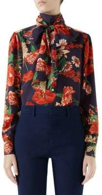Gucci Long-Sleeve Floral Tie-Neck Silk Blouse