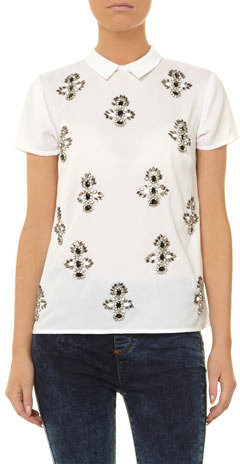 Dorothy Perkins DP Collection white embellished shell top