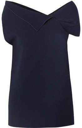 Roland Mouret Asymmetric Wool-crepe Top - Navy