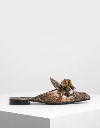 Charles & Keith Snake Print Bow Loafer Sliders