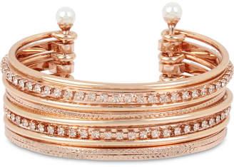 BCBGeneration Bcbg Crystal & Imitation Pearl Multi-Row Cuff Bracelet