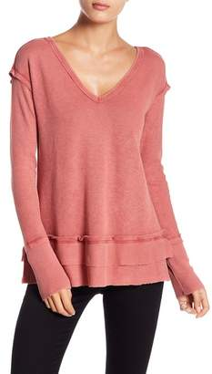 Melrose and Market V-Neck Waffle Knit Ruffle Tee (Petite Available)