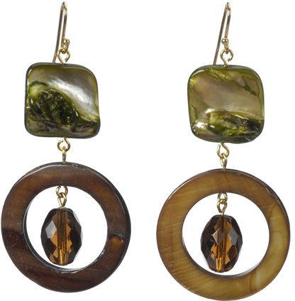Deborah Grivas Designs Green Mother of Pearl and Brown Crystal Gold Loop Earrings
